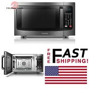 Toshiba Stainless Steel Convection Microwave Oven 1 5 Cu Ft W Blue Lcd Display