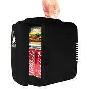 Guay Portable Mini Fridge Cooler And Warmer 4 Liter 6 Can For Home Cars Black