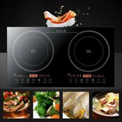 Portable Dual Induction Cooker Cooktop Burner Electric 2400w Temperature Control