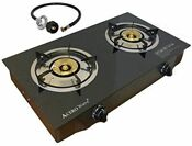 Double 2 Burner Propane Gas Stove Cooktop Portable Cooker Camp Stove Glass Style