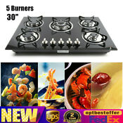 30 Embedded Tempered Glass Stove 5 Burners Natural Gas Ng Lpg Hob Cooktop Black