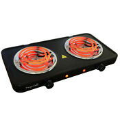 Electric Cooktop Dual Coil Burner Portable Lightweight Matte Black