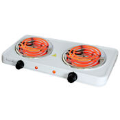 Electric Cooktop Dual Coil Burner Portable Lightweight White