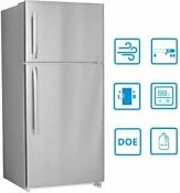 Smad 18 Cu Ft Top Freezer Refrigerator Stainless Steel Fridge Frost Free Kitchen