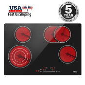 Iseasy Electric Ceramic Cooktop Drop In 4 Burner Timer Touch Control 7200 Watts