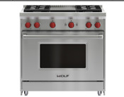 Wolf Gr364g 36 Inch Freestanding All Gas Range With Natural Gas Sealed Griddle