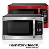 Hamilton Beach 1 1 Cu Ft Microwave Oven 1000w Kitchen Led Display Stainless Red
