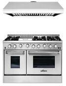 Gas Range 48 Double Oven Griddle Thor Kitchen Hrg4808u Stainless Steel Combo