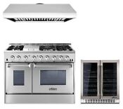 Dual Fuel 48 Double Oven Range Thor Kitchen Hrd4803u Appliance Combo Package