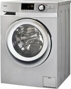Haier 24 Inch Wide Front Load Washer And Dryer Combination Silver Hlc1700axs