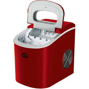 Ice Maker Machine Compact Countertop Portable Sonic Cube Nugget Dispenser Red