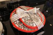 Grey Red Christmas Reindeer Gift Set For Aga Chefs Pads And Double Oven Gloves