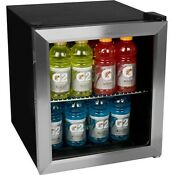 Stainless Steel Compact Glass Door Refrigerator Personal Mini Countertop Fridge