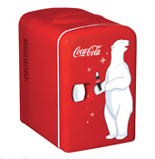 Portable Indoor Coca Cola Personal 6 Can Portable Mini Fridge With Warming Red