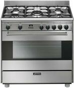 Smeg S9gmxu 36 Free Standing Dual Fuel Range 5 Sealed Burners Stainless Steel