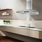 36 Kitchen Range Hood Under Cabinet Stainless Steel Led Lamps Vent Pipe 200 W