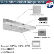 30 Under Cabinet Range Hood Stainless Steel Kitchen Cooking 2x Fan Top Vented