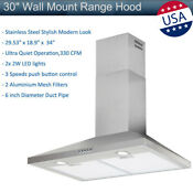 30 Wall Mount Range Hood Stainless Steel Leds Mesh Filters Kitchen Stove Vented
