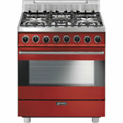 Smeg C30ggru 30 Free Standing Gas Range With 5 Gas Burners 3 Cooking Modes Red