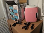 Cooluli Mini Fridge Electric Cooler And Warmer 4 Liter 6 Can Ac Dc Usb Pink
