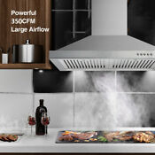 30 Wall Mount Range Hood Stainless Steel Grease Filter 350 Cfm Cooking Vent Led