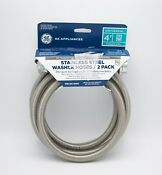 Ge Universal Washer Hoses Stainless Steel 4 Ft Water Hose 90 Degree Elbow 2pack