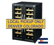 Stainless Steel 32 Bottle Dual Zone Wine Cooler French Door Refrigerator Cellar