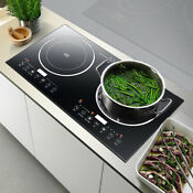 Electric Dual Induction Cooker Stove 1200w 2 Hot Plate Burners Cooktop W Timer