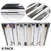 6 Pack Commercial 25 X16 Stainless Steel Exhaust Hood Vent Grease Filter Baffle