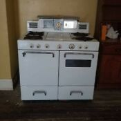 Antique Gas Stove With 4 Burners And Griddle Vintage White Oven Drawers