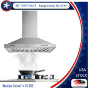30 In Wall Mount Range Hood 350cfm Stainless Steel Filter Stove Top Vent Cooking