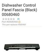 Bosch Dishwasher Control Panel Fascia Black 00680460