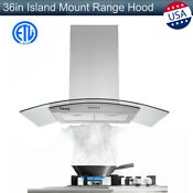 36 In Island Mount Range Hood 900cfm Stainless Steel Tempered Glass 3 Speed New