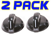 2 Pack New Ap4322122 Top Burner Knob Fits Frigidaire Tappan Stove Range Oven