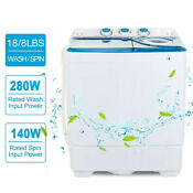 26 Lbs Mini Washing Machine Compact Tub Twin Laundry Spiner Dryer W Drain Pump