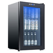 Modern 80 Can 2 3 Cu Ft Beverage Cooler Refrigerator Mini Beer Fridge Glass Door