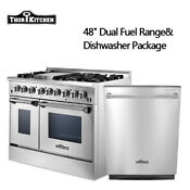 48 Dual Fuel Range And 24 Dishwasher Package Stainless Steel Thor Kitchen