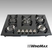 30inch Black Tempered Glass Built In Kitchen 5 Burners Gas Hob Kitchen Cooktops