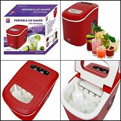Portable Ice Maker Counter Top Machine 2 Selection Cube Size Low Noise Candy Red
