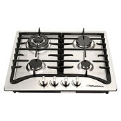 Windmax 23in 4 Burners Stainless Steel Cooktop Gas Stove Fit For Gas Lpg A