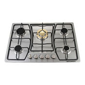 30 Inches Built In Gas Cooktop Stainless Steel Fixed 5 Burners Gold Cooker A