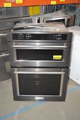 Kitchenaid Koce500ebs 30 Black Stainless Combo Convection Wall Oven Nob 236