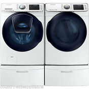 Samsung White Front Load Washer Gas Dryer And Pedestals Wf50k7500aw Dv50k7500gw