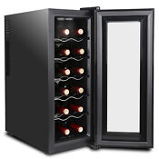 Accurate Temperature Control 12 Bottles Wine Cooler Refrigerator Quiet Operation