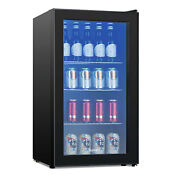 120 Can Glass Door Beverage Cooler Mini Refrigerator Beer Soda Wine Bar Fridge