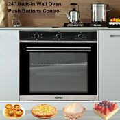 24 Built In Single Home Electric Wall Oven Tempered Glass Push Buttons Control