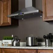 Akdy 36 In Convertible Kitchen Wall Mount Range Hood In Stainless Steel