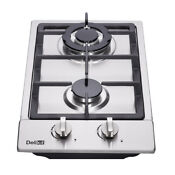 Delikit A 12 2 Burners Gas Cooktop Gas Hob Ng Lpg Dual Fuel Sealed S S Panel