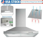 30 Inch Wall Mount Range Hood Push Control Kitchen Stove Vent 350 Cfm Led Light