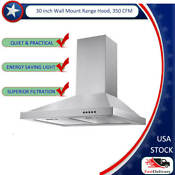 Tieasy 30 In Wall Mount Range Hood 350 Cfm Push Control Over Stove Vent Led Lamp
